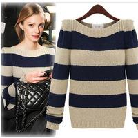 OVO! 2014 new fashion women clothing Long-sleeved cardigan sweater striped coat women blouse, top for women