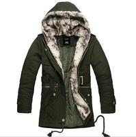 Autumn Winter New Upscale removable fur neck hooded Men's windbreaker Cotton plus thick velvet men trench coat jacket Hoodie