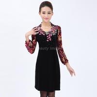 Hitz Women Diamond Beaded Embroidery Plus Size Clothing Long-Sleeved Velvet Dress 4XL,5XL,6XL Free Shipping