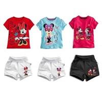 BIG sale!! / retail 2 pcs/set new 2014 summer fashion casual baby girls boys sets  high qunlity cartoon girls clothing sets