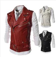 Plus size XXL  2014 new personalized men's Leather Vest multi-zipper large lapel men Slim Short  Waistcoats  outerwear