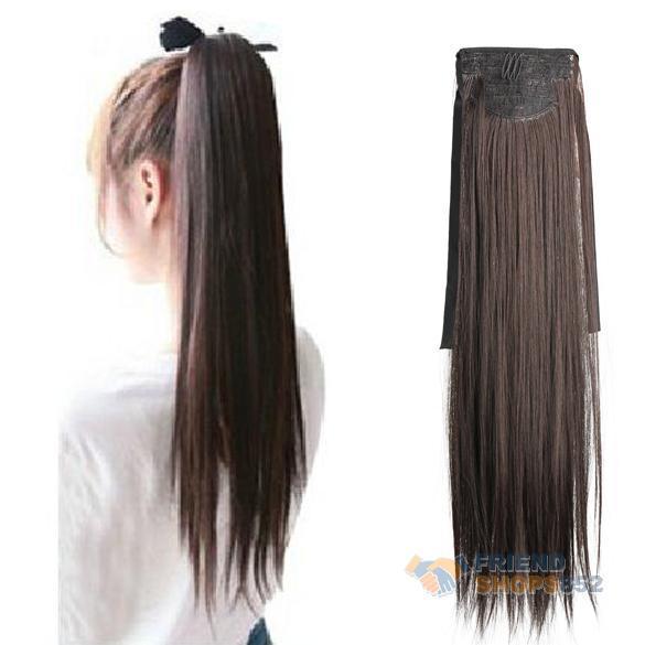 Длинные леди девушка прямо хвост парики волос парики расширение шатен F #OS