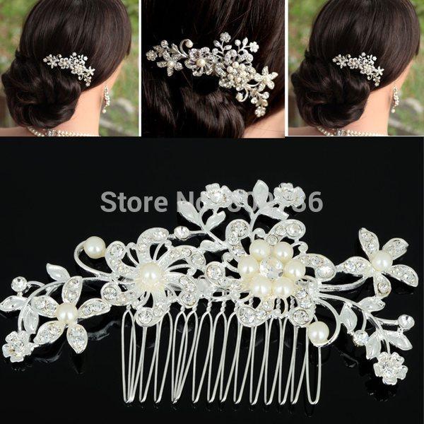 1PC Fashion Girls Womens Crystal Elegant Silver Wedding Bridal Hair Comb Pearl Hair Pin Clip Clothing