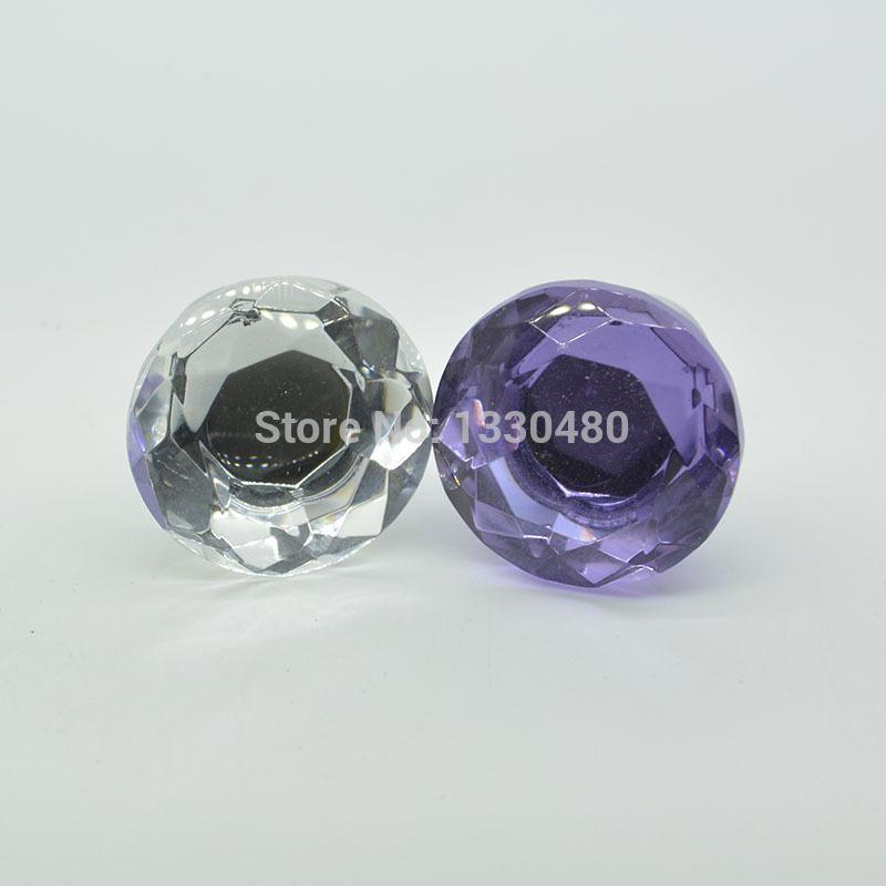 White Diamond Shaped Clear Glass crystal cabinet knob 28G high brow design 10PCS Diameter 30mm(China (Mainland))