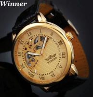 Mens Black Skeleton Hand Wind Mechanical Watch Men's wristwatches Winner