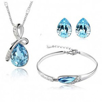 Fashion white gold plated austria crystal S0125 pendant necklace/earrings/bracelet Drops of water Jewelry Sets