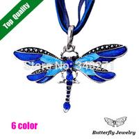 New 2014 Autumn and Winter Fashion Jewelry Blue Enamel Rhinestone Retro Alloy Dragonfly Pendant Necklace Women