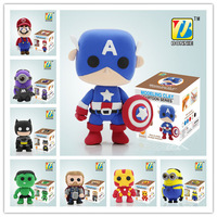 Hot Sale New 2014 Superheroes Handgum DIY Puzzle Fun 3D Modelling Polymer Clay Plasticine Play Dough Free Shipping