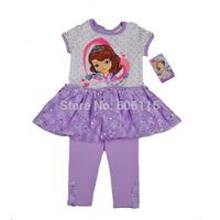 wholesale 2014 New Kids Suit, Baby girl 2pcs set Sofia cartoon Tank Dress and shorts, Children clothes suit, 6sets/lot-1DS7394