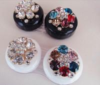 Free Shipping Handmade Handmade Bling Crystal Flower Travel contact lens case