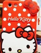 Lovely 3D kitty Polka Dot KT Bow Silicone Case For oppo OPPO R1 case/OPPO R829T High Quality Cell Phone Case Silicone