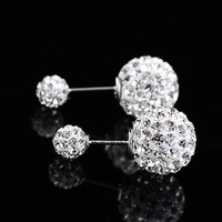 free shipping brand jewelry--tendre  100% 925 Silver Double bead  earring TE006