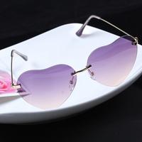 New Designer colors Heart Shape Mirrored Sunglasses women Frameless Sun glasses High quality women's accessories 2014 M12