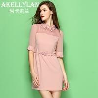 2014 summer women's peter pan collar slim gentlewomen elegant half sleeve one-piece dress with belt
