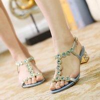 New 2014 summer genuine leather rhinestone sandals female thick heel diamond plus size women shoes elegant women pumps