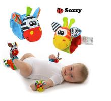 2PCS Rattle Baby Toys Gift Plush Garden Bug Wrist Rattle + Foot Socks Educational Style Toys Christmas Gift(China (Mainland))