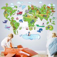 New 2014 cartoon world map wall sticker decals for kids rooms SKU:1001