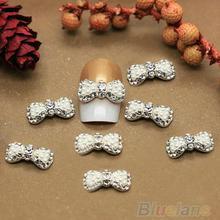 10 x Womens Rhinestone Pearl Bow 3D Nail Art Tips Stickers Decoration Jewelry DIY decoration 00XL