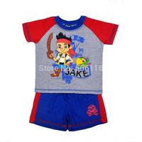 Wholesale 2014 Children Suit Baby Boy 2pcs Captain Jack cartoon set with a short sleeve T-shirt + a shorts, 4sets/lot-WYX-BB-46