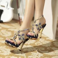 New summer 2014 rhinestone women shoes platform genuine leather diamond sandals women party crystal sandals luxury women pumps