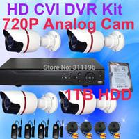 1TB Hard Disk included CCTV System 4 Channel 720P HD CVI DVR  Analog Camera Kit Outdoor Surveillance Video system