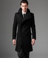 2014 new autumn Covered button wool coat men fit slim mens pea coat woolen fashion handsome coats cashmere plus size S - 3XL