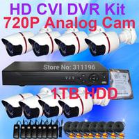 8CH HD CVI CCTV DVR System with 1TB HDD 720P High Definition Recording resolution Outdoor Camera Surveillance