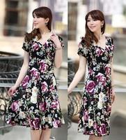 The new summer dress silk milk short sleeved V collar slim slim Korean women's dress code beach