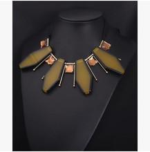 Free Shipping New 2014 M*NI Brand Jewlery Fashion Color Geometric Gems Necklaces & Pendants Gold Chain Collar Jewelry Women