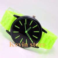2014 NEW Geneva Hot Fashion women Style watch jelly watch silicone yellow band quartz watch for men