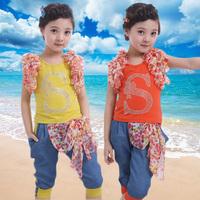 Children's clothing female child 2014 summer clothes child 100% cotton sleeveless vest set summer kids clothes