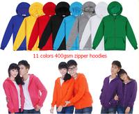 Blank men's hoodies women hoody 100% cotton 400gsm zipper hoodies with fleece lining long sleeve customized printing embroidery