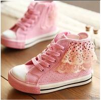 Size25-36 new children shoes girls sneakers lace mesh princess canvas zipper kids shoes high skateboarding shoe kids boots A117