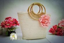Saco de palha Natural mulher verão Bow Tassl palha grande Beach Basket bolsa Handbag shippig livre(China (Mainland))