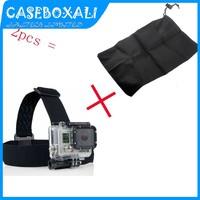 2PCS/set Elastic Adjustable Head Strap Mount Belt For GoPro GO PRO HD Hero 1/2/3 Camera,Anti-Skid   storage bag