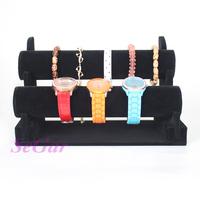 Wholesale High Quality Black Velvet Watch Bracelet Bangle Display Stand Holder T-Bar 2 Tiers