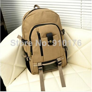 2014 New Quality Guarantee Men Khaki Travel Bags Fashion Thicken Canvas Backpacks Women Double Shoulder Bags FREE SHIPPING(China (Mainland))