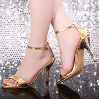 Women's 2014 sexy open toe thin heels Ladies high-heeled shoes gold japanned leather shoes yards women's sandals free shipping