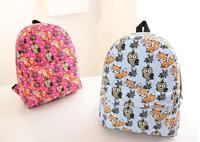 New 2014 Fashion Animal Print Backpack Women Owl Fox Backpack Canvas School Bag Campus Teenager Schoolbag Student Rucksack