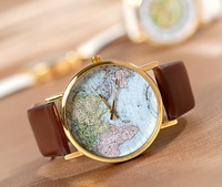 Korean version of the retro world map simulation cow leather students alloy couple Quartz watch