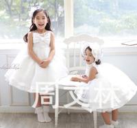 2014 Summer New girls dress,bow princess dress,children lace dress,kids noble fairy dress high quality