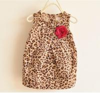 2014 summer new girls dress leopard baby dresses summer children's clothing kids wear flower girls garment