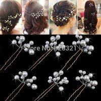 2Pcs Women Ladies Wedding U-shaped BRIDAL Hair Clip White Pearl Flower Hairpin HOT Hair Accessory Jewelry Drop Free