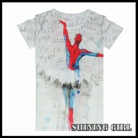 New 2014 fashion casual women t -shirt funny spideman  print tops for women harajuku style clothes tees