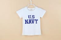 2014 Retail Kids Tops US Navy 100% Cotton Short Sleeves T shirt Children Girls t shirt /Children's T-Shirts/Child Tops Tee
