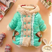 Free Shopping autumn and winter female child front fly white double breasted wadded jacket cotton-padded jacket casual outerwear