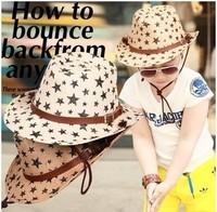 free shipping 2-7 years old new design Summer cowboy star hat Beach sunshade cap fashion Children's hat