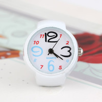 Free Shipping 24mm Cartoon Digital Round Metal Quartz Analog Ring Watch(10Pcs)(White K)24104#