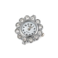 Free Shipping 25mm Flowers-Shaped Diamond Metal Bracelet Watch Head (10Pcs)(White K)24108#