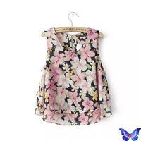 Fashion Women Zara2014 Summer Clothing Blusas Femininas Ladies Blouses O-Neck Sleeveless Floral Shirt Crop Tops Womens Blouses